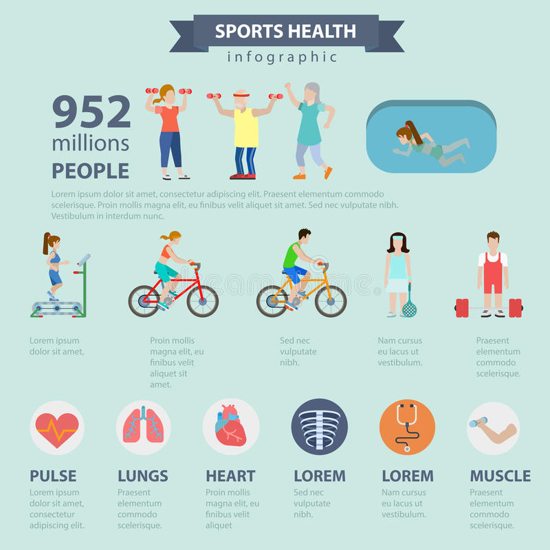 Sports health healthy lifestyle vector flat infographics. Flat style thematic sports health infographics concept. Healthy lifestyle exercise activity water pool vector illustration