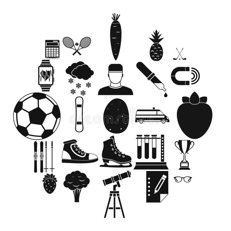 Sports health icons set, simple style stock illustration