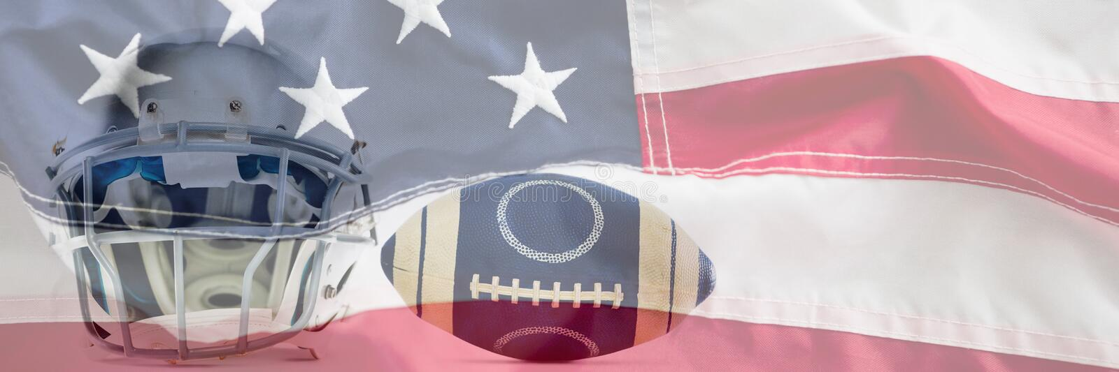 Composite image of sports helmet and american football. Sports helmet and American football against full frame of american flag stock photography