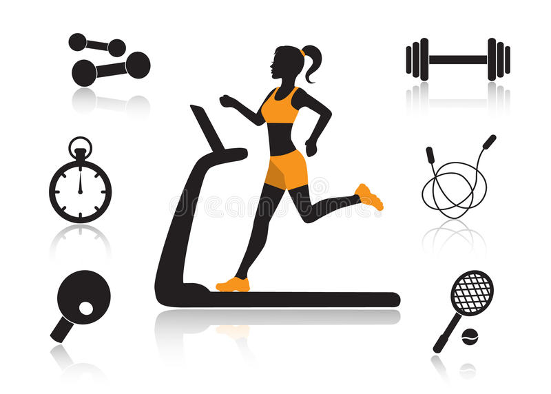 Sports in human life. Female silhouette running on a treadmill and a set of sports icons on a white background vector illustration
