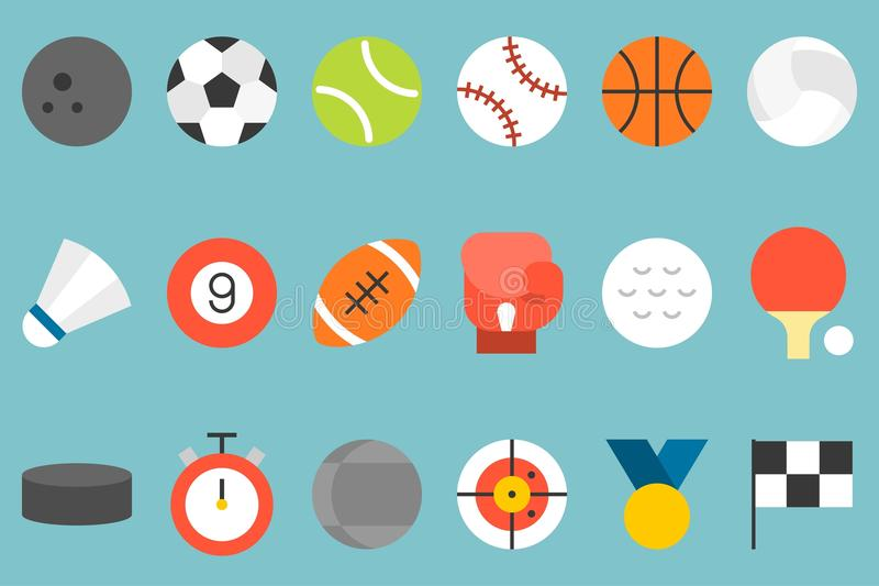 sports icon set without line royalty free illustration