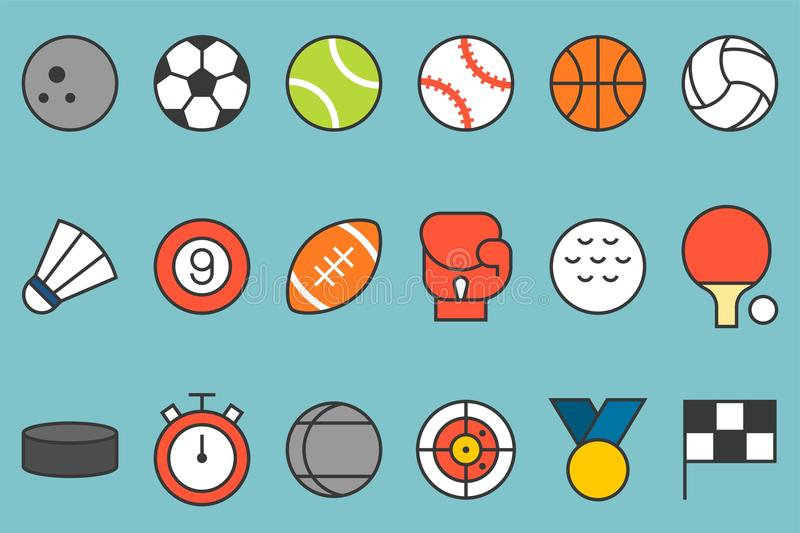 Sports icon set. Such as football, basketball, badminton, bowling, boxing, flag, stopwatch, flat line color design vector illustration