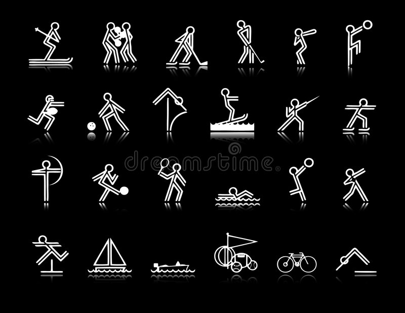 Download Sports Icons stock vector. Image of field, archery, dive - 2536945