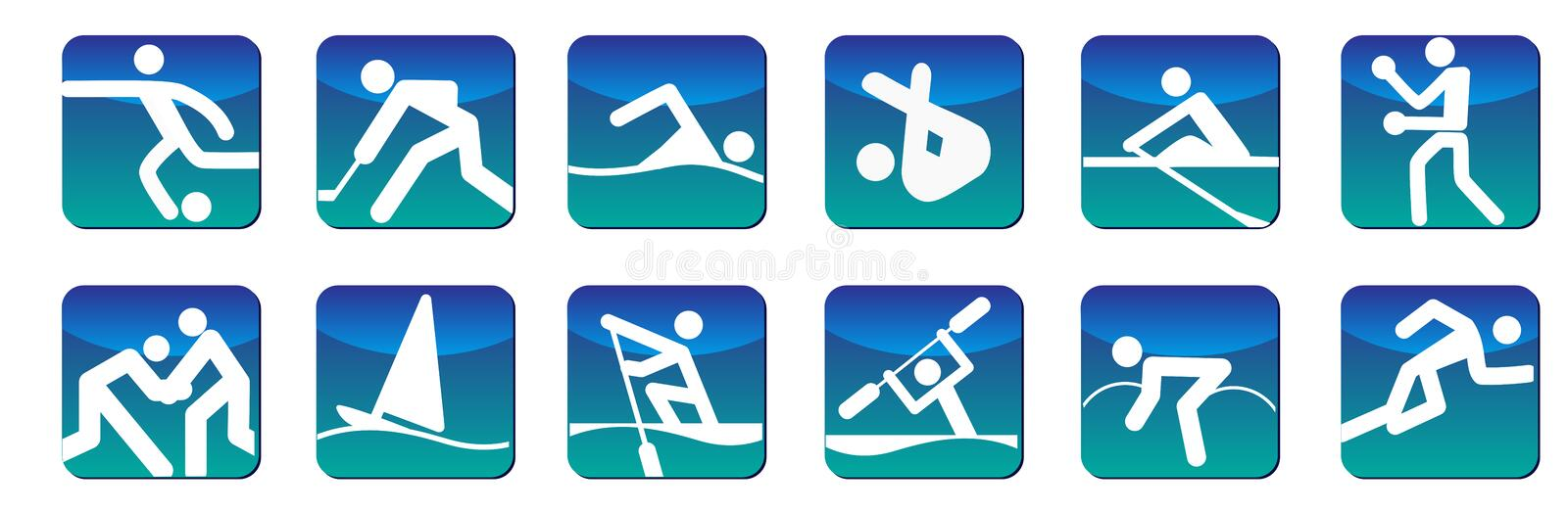 Download Sports icons blue stock vector. Image of kayaking, running - 27195153