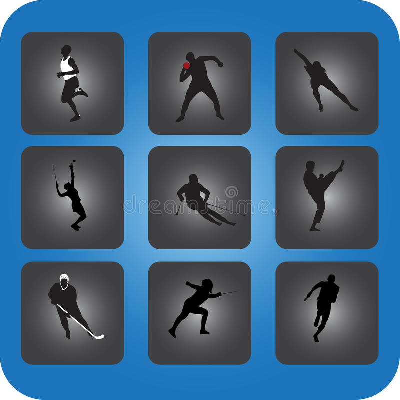 Sports Icons. Illustration of sports icon image is isolated on color background, created in illustrator software stock illustration