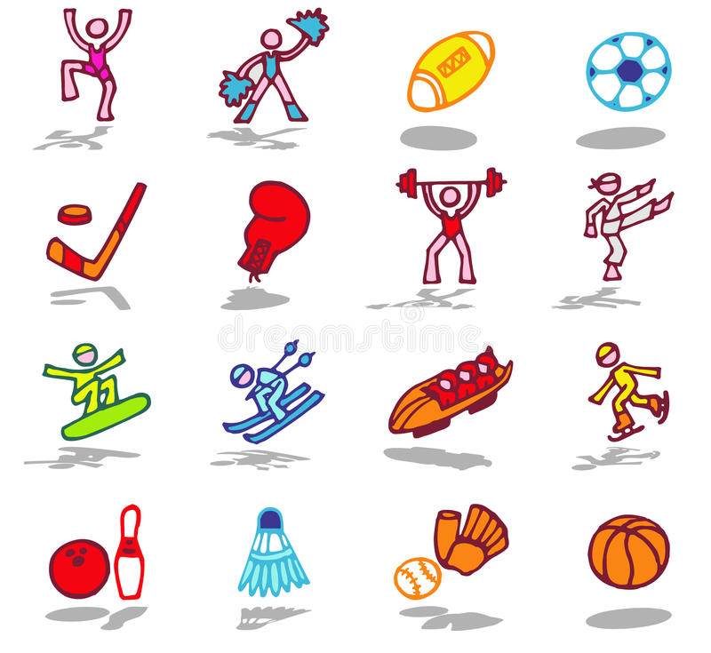 Download Sports icons set 1 stock vector. Image of people, objects - 10202660