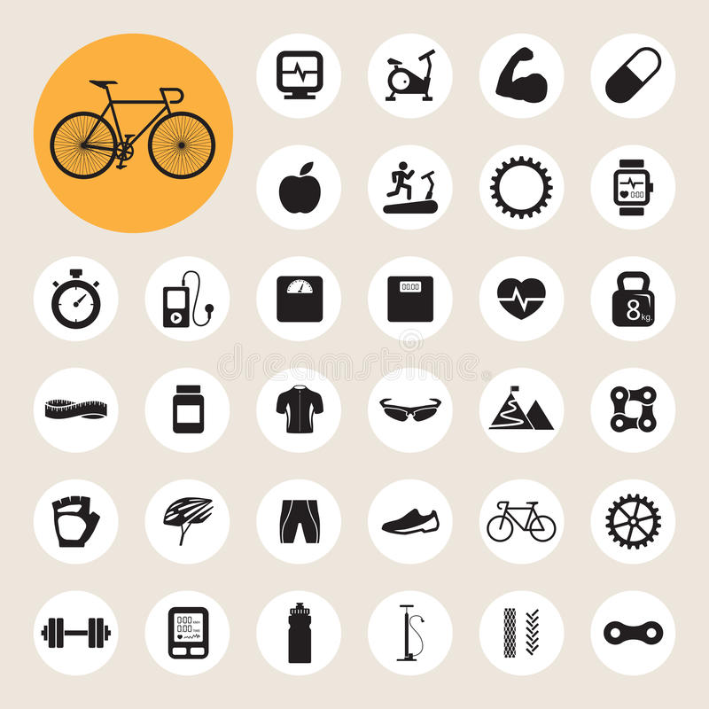 Download Sports Icons set. stock vector. Image of bottle, aerobics - 33317020
