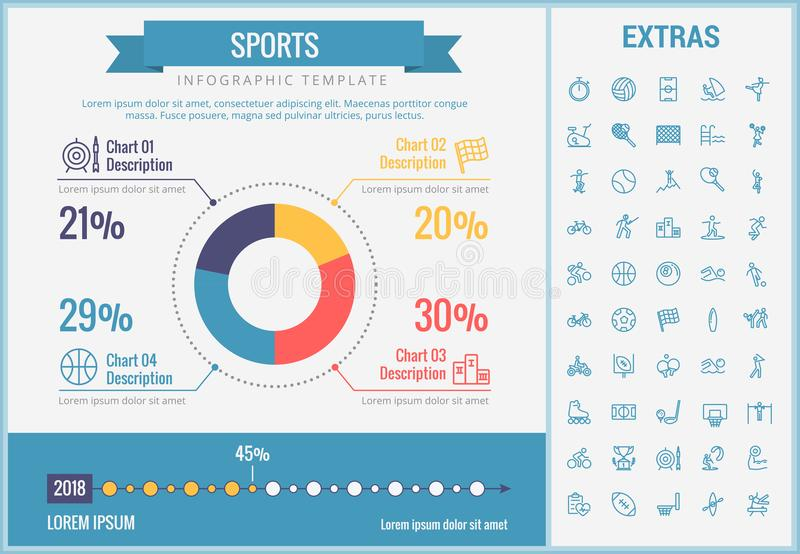 Sports infographic template, elements and icons. stock illustration