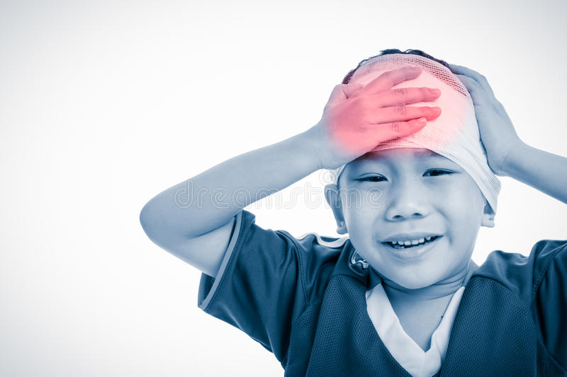 Sports injury. Asian child with trauma of the head painful crying. Isolated on white. royalty free stock photo