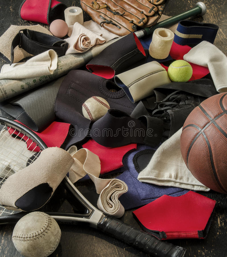 Sports injury straps and bandages. Various straps and bandages for sports injuries stock photo