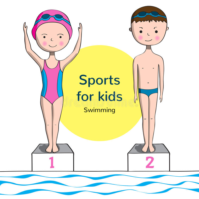 Sports for kids. Swimming. Boy and girl in swimsuit near the pool vector illustration