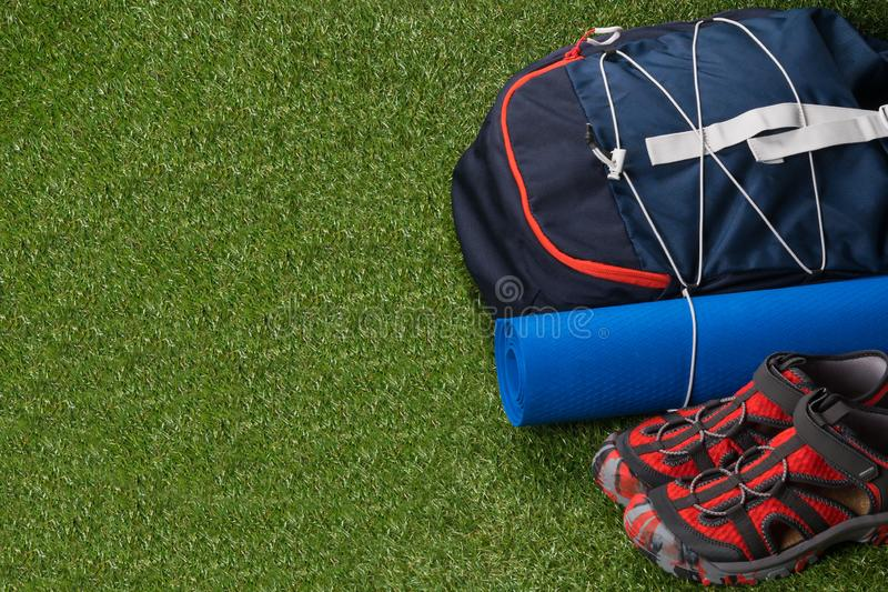 Sports kit for extreme recreation in the wild, on a green lawn, with a place for an inscription stock photos