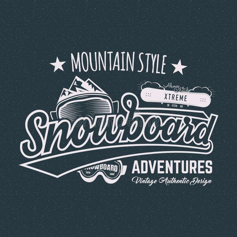 Sports label, T-shirt de surf des neiges d'hiver Conception de chemise de style de montagne de vintage Typographie extérieure d'a illustration stock