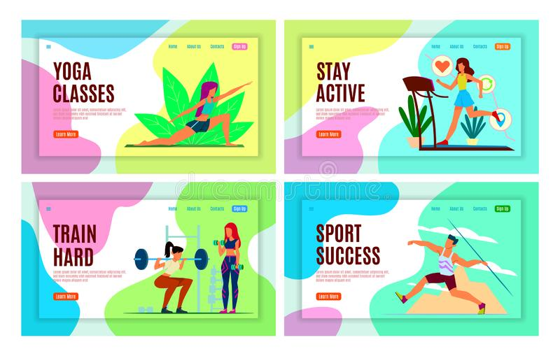 Sports landing page. Athletes make fitness workout, yoga classes and active, healthy lifestyle vector web design stock illustration