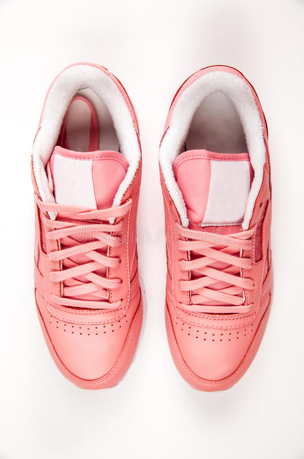 Sports leather sneakers. Free style. Classic. Fashion. Pink royalty free stock image