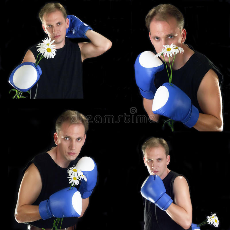 Sports man in boxing gloves with  camomiles