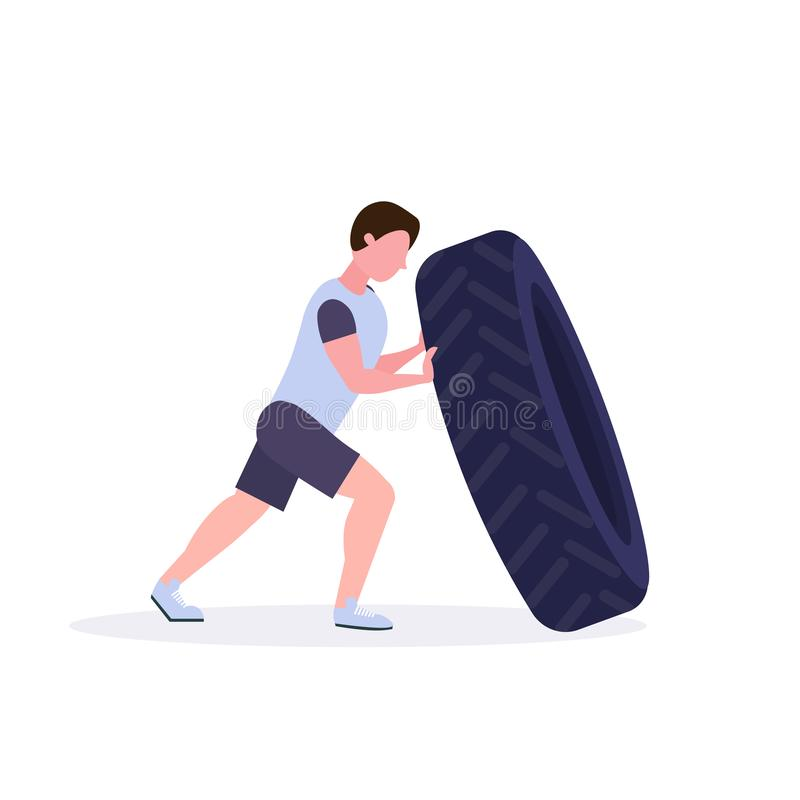 Sports man flipping a tire doing hard exercises guy working out in gym crossfit training healthy lifestyle concept flat. White background vector illustration vector illustration