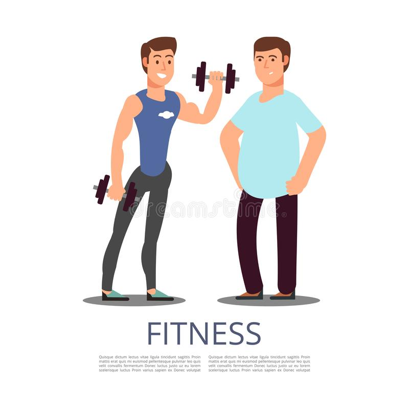 Sports man and plump man isolated on white background vector illustration