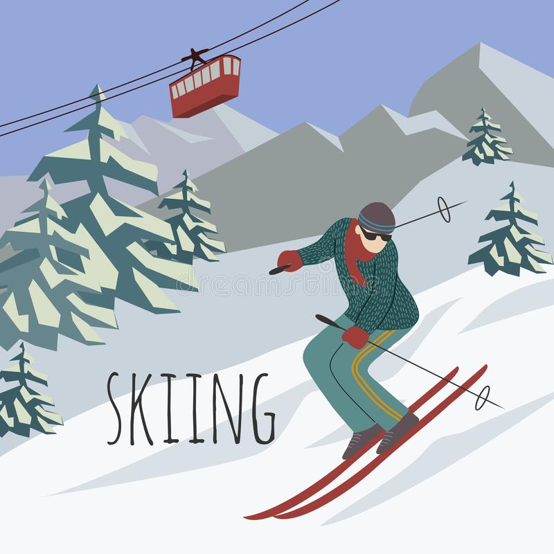 Sports man riding a winter ski on snow slope on background ski resort in mountains and ski lift. Vector flat stock illustration
