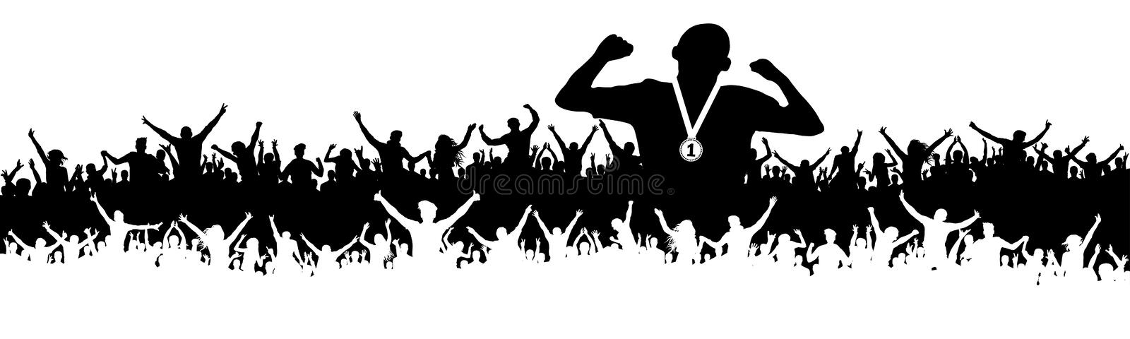 Sports man victory silhouette. Crowd of fans, cheering. Banner, vector background. Sports man victory silhouette. Crowd of fans, cheering. Banner, vector vector illustration