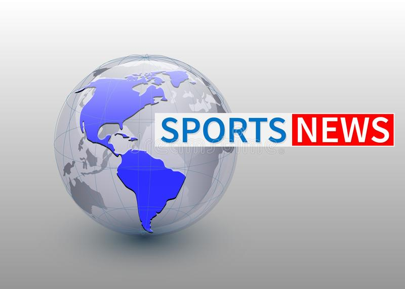Sports news, world news backgorund with planet, TV news design. Vector royalty free illustration
