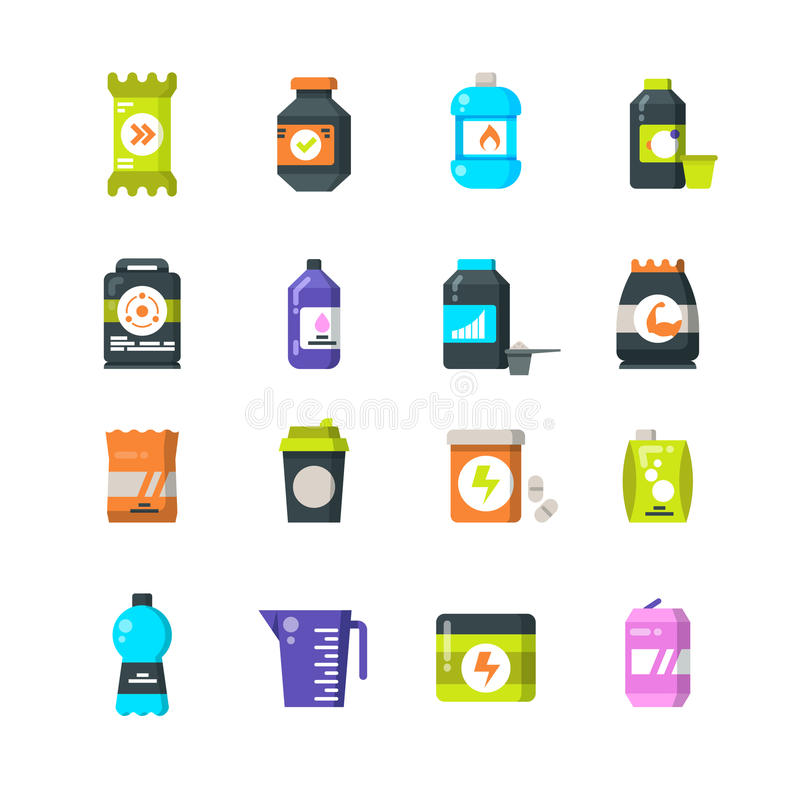 Sports nutrition supplements and protein flat icons. Energy drink and power bar vector symbols royalty free illustration