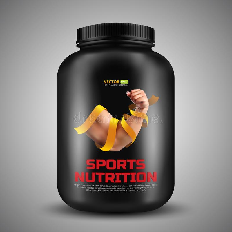 Sports nutrition vector container with label of Biceps a strong man wrapped in a gold ribbon stock illustration