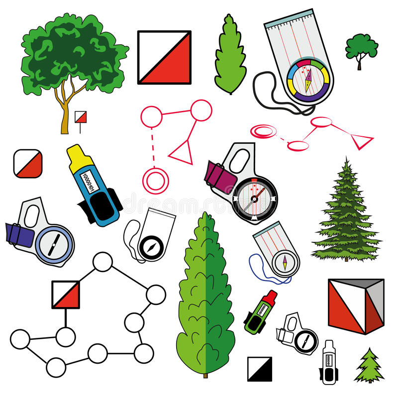 Sports orienteering icons set of. Elements: control points, compasses, punching cards, plants. Flat. Modern clear vector illustration. Isolated on white royalty free illustration