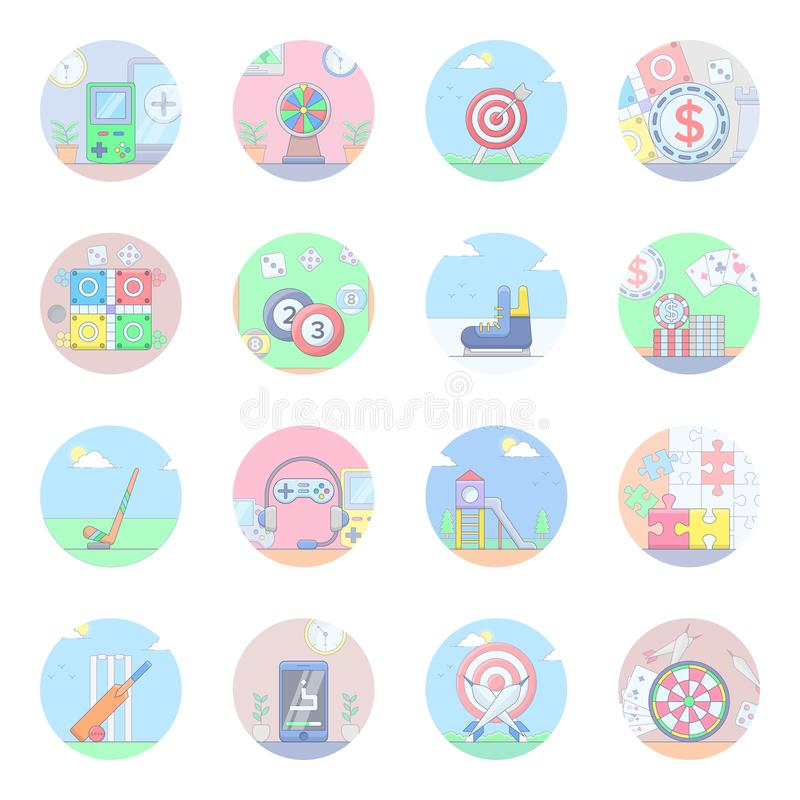 Sports and Outdoor Games Flat Icons. Set showing latest sports and outdoor games visuals for your design project having olympic games vectors with editable royalty free illustration