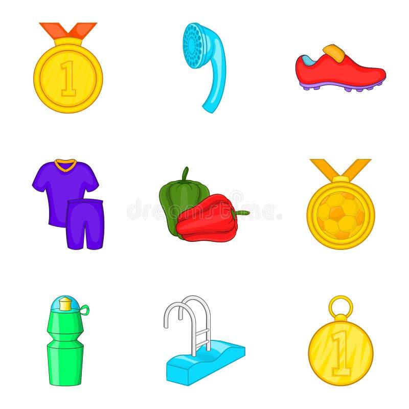 Sports outdoor icons set, cartoon style royalty free illustration