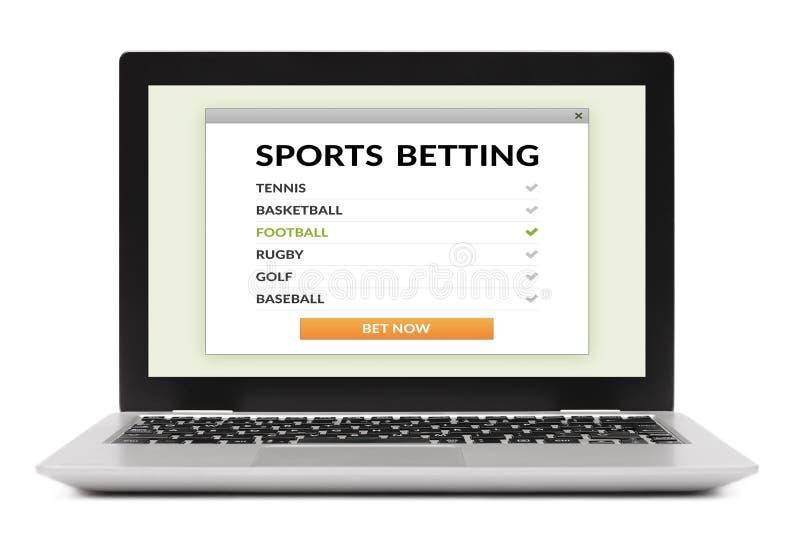 Sports pariant le concept sur l'écran d'ordinateur portable d'isolement sur le whi images libres de droits