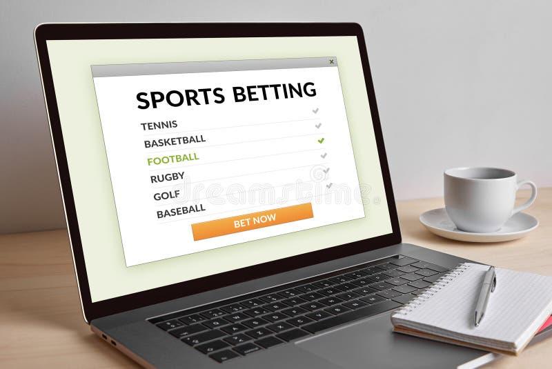 Sports pariant le concept sur l'écran moderne d'ordinateur portable photo stock