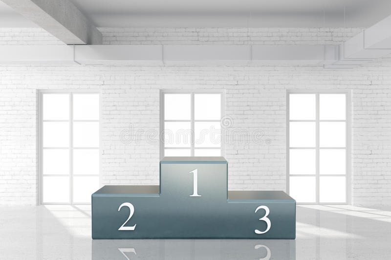Sports pedestal in interior. With brick wall and concrete floor. 3D Rendering stock illustration
