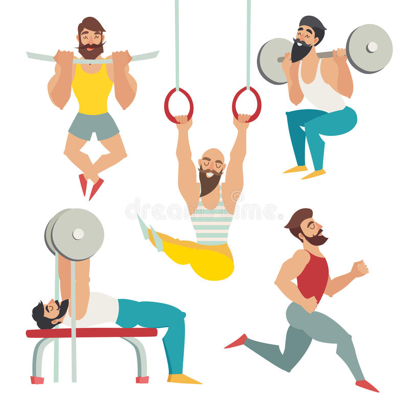 Sports people in the gym. Gymnastics rings, bench press, running, squats, tightened on the panel stock illustration