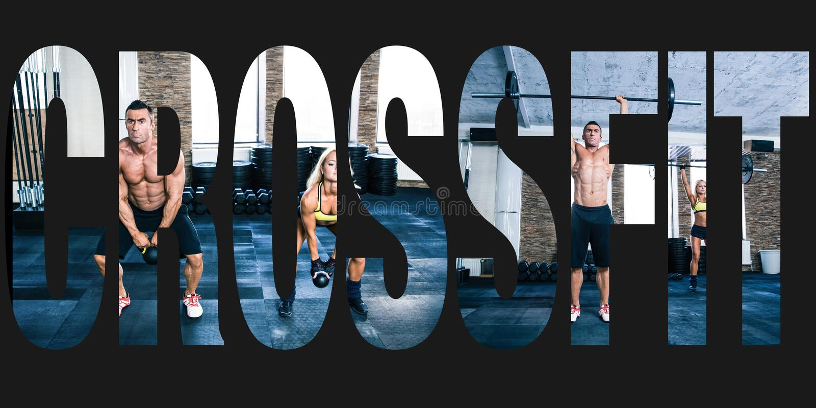 Sports photos in the form of the word crossfit royalty free stock image