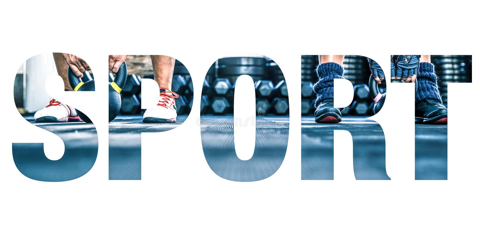Sports photos in the form of the word sport royalty free stock photos