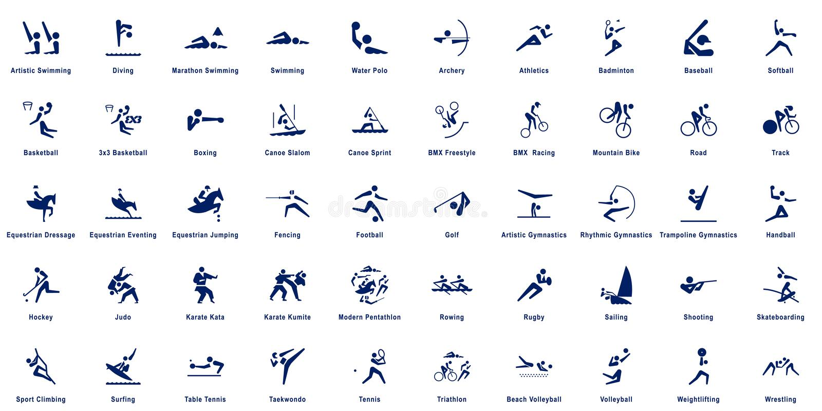 Sports pictograms, collection of 50 sport vector pictograms stock illustration