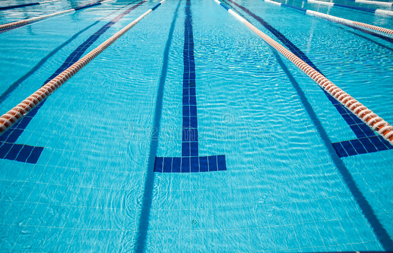 Sports pool for active sports. Image of swimming sports pool for stock photo