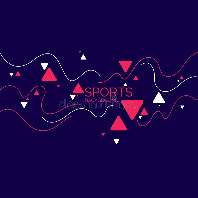 Sports poster. Abstract blobs and geometric shapes on a background. Vector illustration royalty free illustration