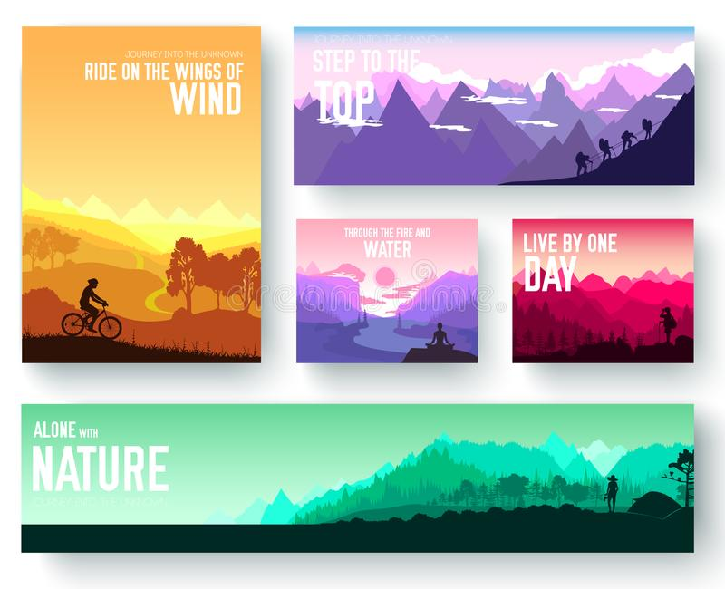 Sports rest day vector brochure cards set. Tourism on nature template of flyer, magazines, poster, book cover, banner stock illustration