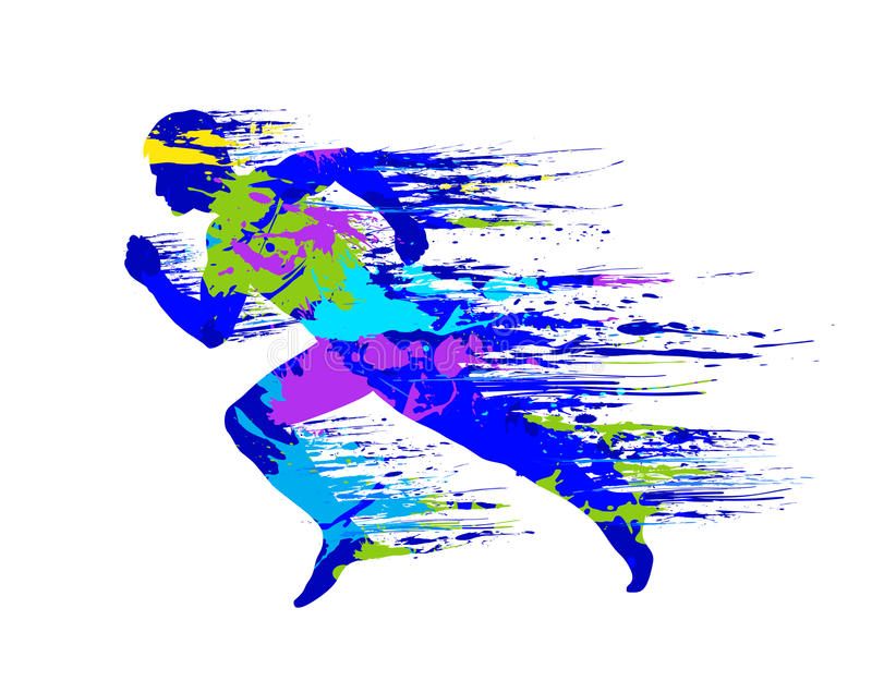 Sports run and paint splashes, drops. For design stock illustration