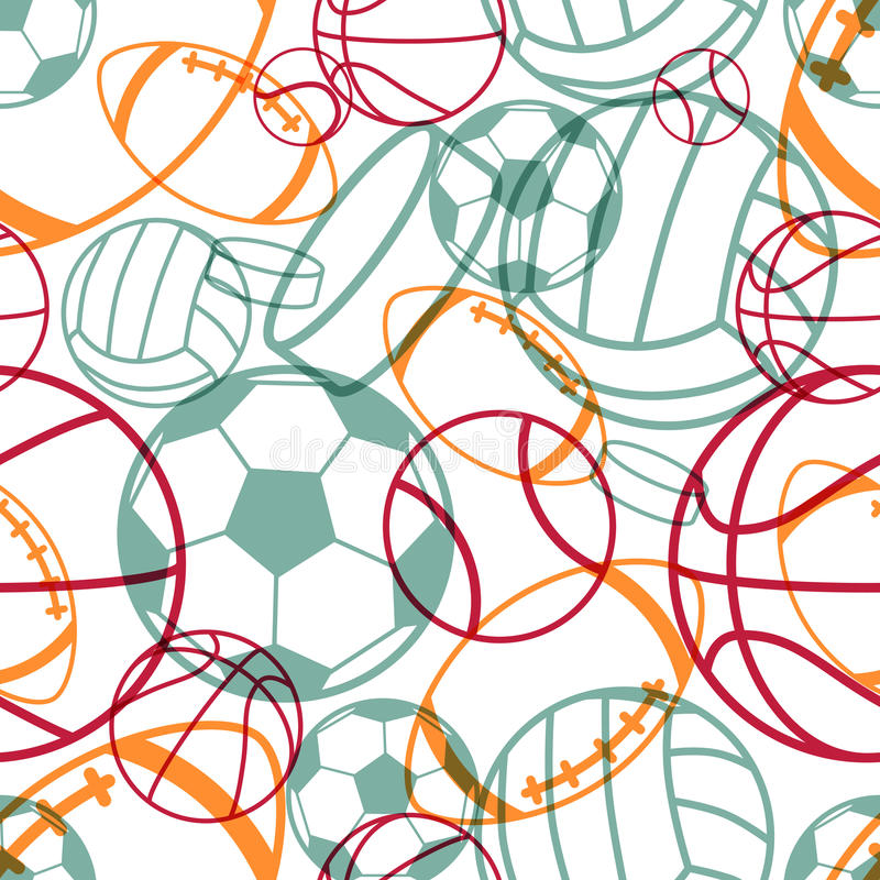 Sports seamless pattern royalty free illustration