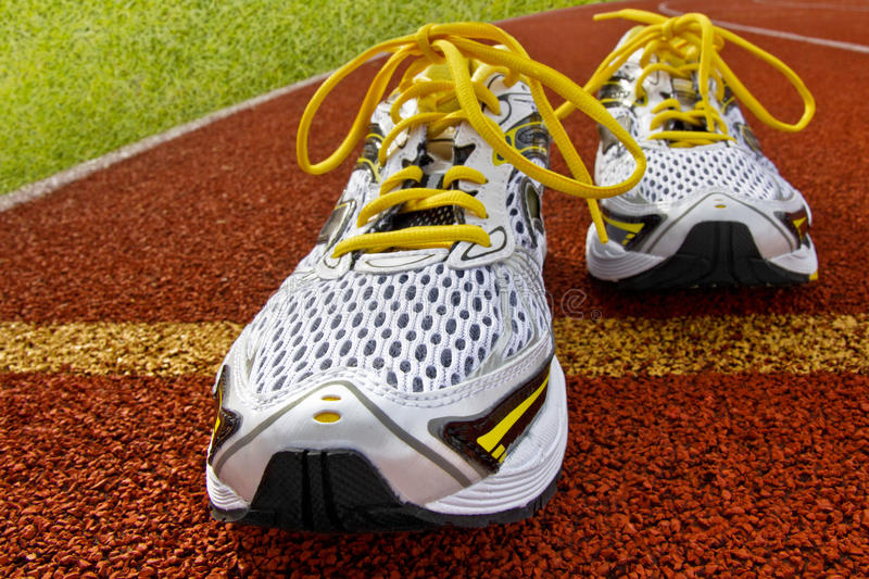 Sports shoes tartan. Pair of sports shoes standing on a tartan race track royalty free stock photography