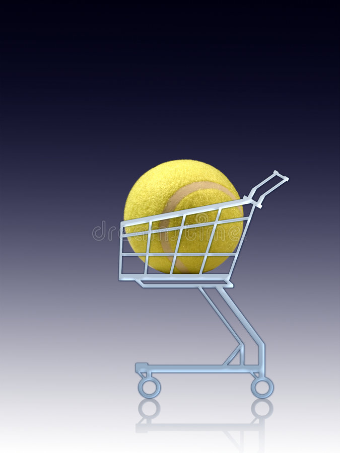 Sports shopping. Tennis ball in a shopping cart royalty free stock image