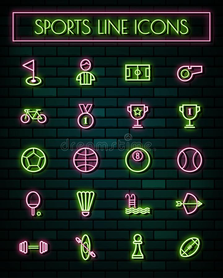 Sports sign thin neon glowing line icons set.vector illustration.  royalty free illustration