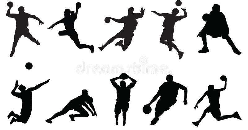 Sports silhouette basketball volleyball vector illustration