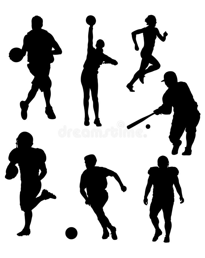 Download Sports Silhouettes stock vector. Illustration of athletic - 4406921