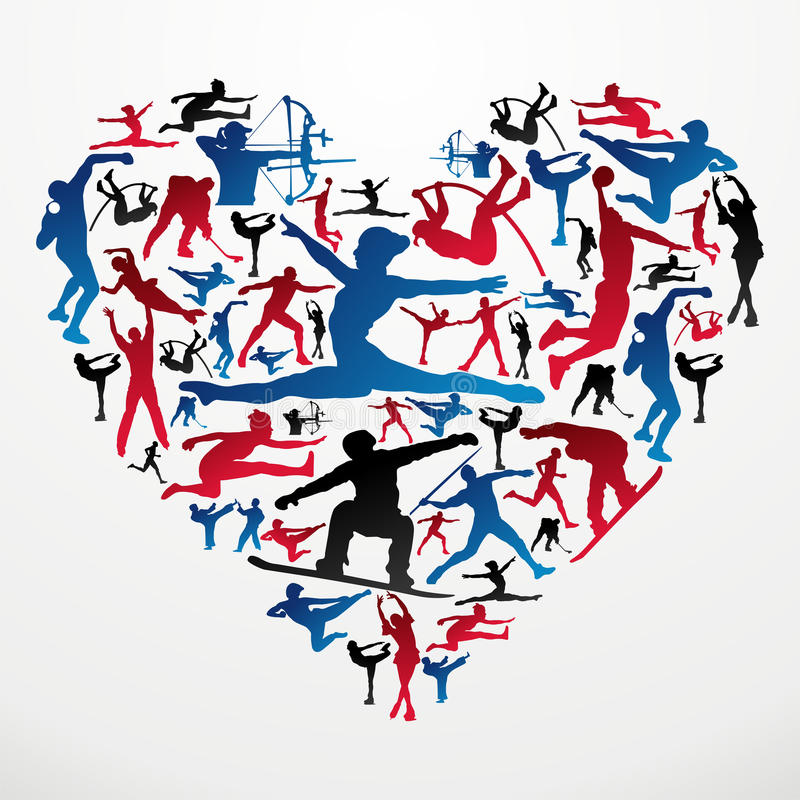 Download Sports silhouettes heart stock vector. Image of hockey - 25567241