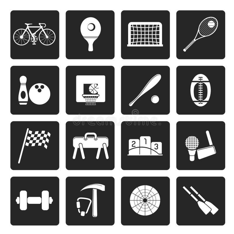 Sports simples noirs vitesse et icônes d'outils illustration de vecteur