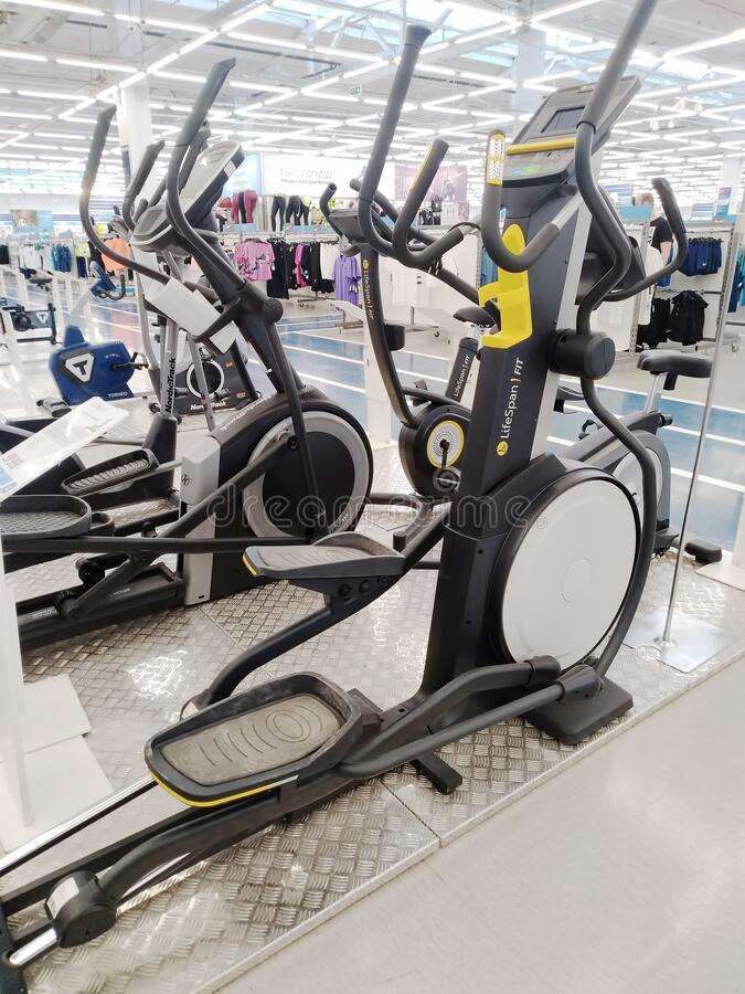 Sports simulators sold at a sports store stock image